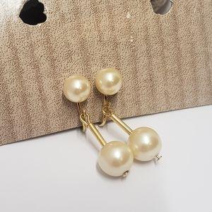 Elegant Vintage Faux Pearl Dangle Earrings